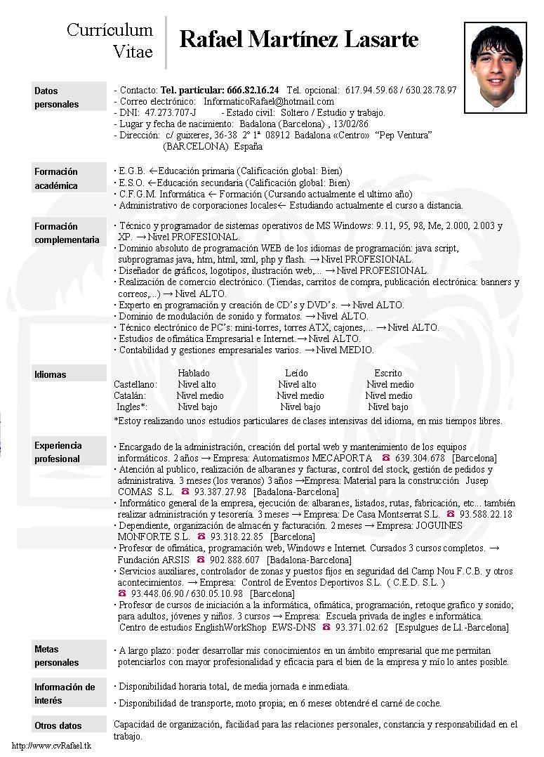 Curriculum Vitae Formato Doc Firmakoek